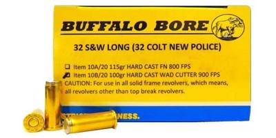 Buffalo Bore Ammo 32 Sw Long 100 Grain Hard Cast Wadcutter 10b20